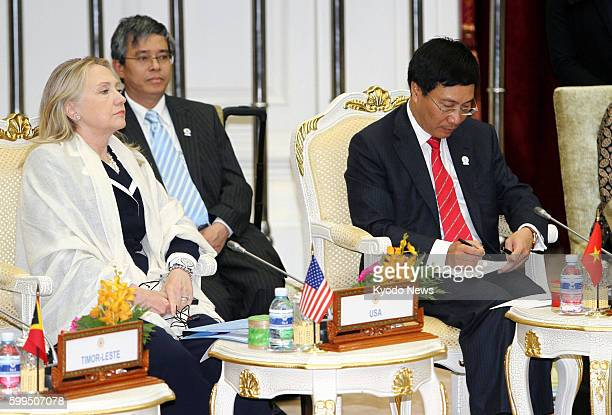 PENH Cambodia US Secretary of State Hillary Clinton attends an ASEAN Regional Forum meeting in Phnom Penh Cambodia on July 12 2012 The session was...