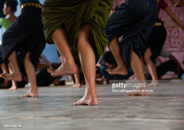 Cambodian dancers feet during a training session of the National ballet, Phnom Penh province, Phnom Penh, Cambodia on July 31, 2006 in Phnom Penh,...