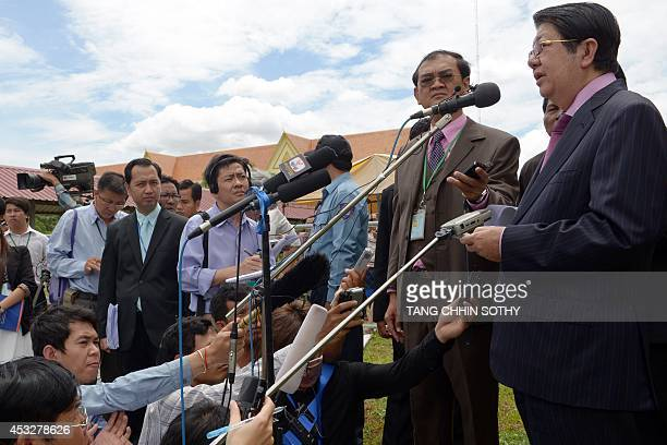Cambodian Deputy Prime Minister Sok Ann speaks to the media during a press conference following the verdict in the trial of two former Khmer Rouge...