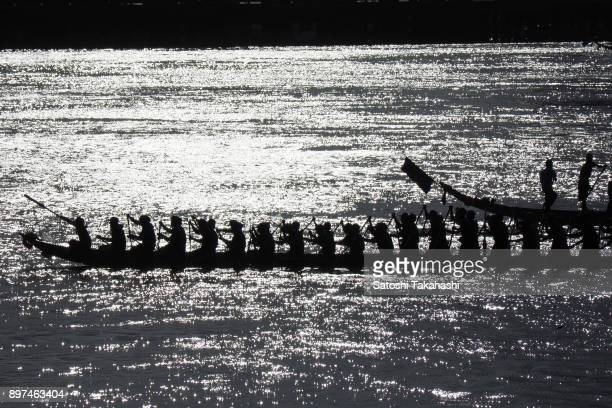 Cambodian dragon boat crew members train on the Tonle Sap river during the first day of the threeday Water Festival boat race The country's annual...
