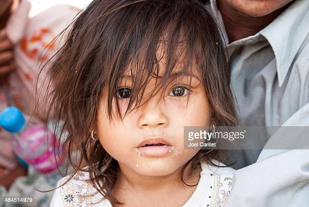 Cambodian girl waiting for vaccination