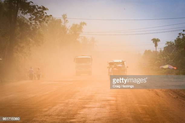 cambodian highway road traffic - kambodschanische kultur stock-fotos und bilder