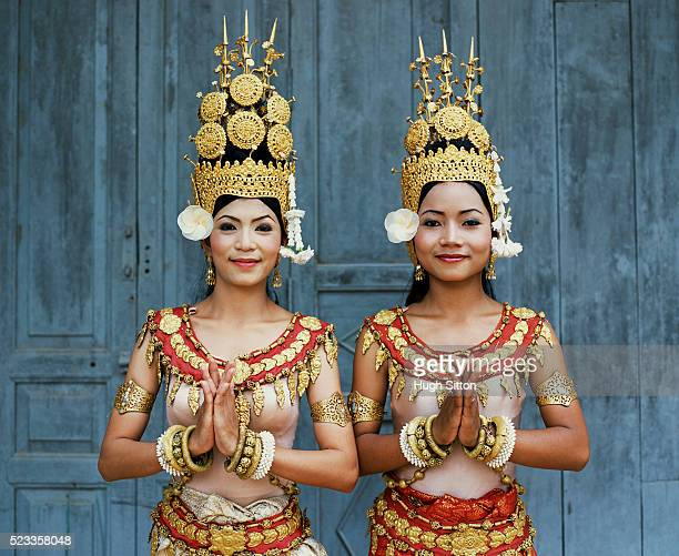 cambodian khmer dancers. angkor wat. cambodia. - khmer stock pictures, royalty-free photos & images