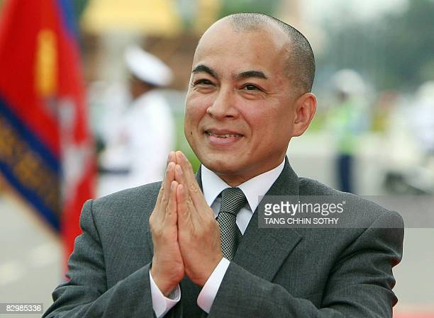 Cambodian King Norodom Sihamoni greets people in front of the National Assembly building in Phnom Penh on September 24 2008 Cambodian king Norodom...