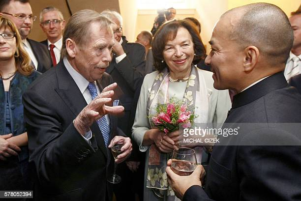 Cambodian King Norodom Sihamoni talks with the former Czech President Vaclav Havel and Livia Klausova wife of the Czech President Vaclav Klaus at the...