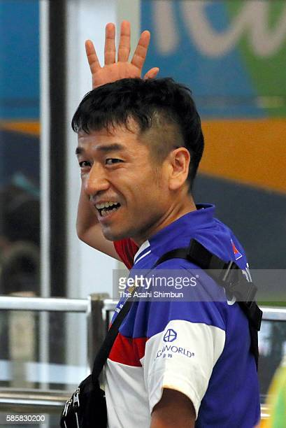 Cambodian marathon runner Neko Hiroshi whose real name is Kuniaki Takizaki is seen on arrival at the airport ahead of the Rio de Janeiro Olympic...