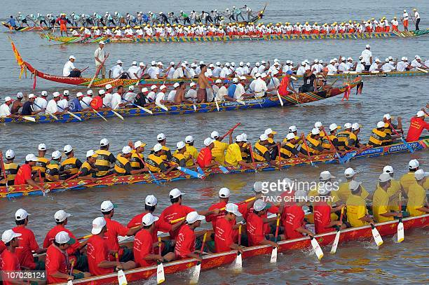 Cambodian participants are pictured in their dragon boat on the Tonle Sap river as they take part in the first day of the threeday Water Festival in...