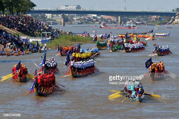 Cambodian participants row their dragon boats during the Water Festival in Phnom Penh on November 22 2018