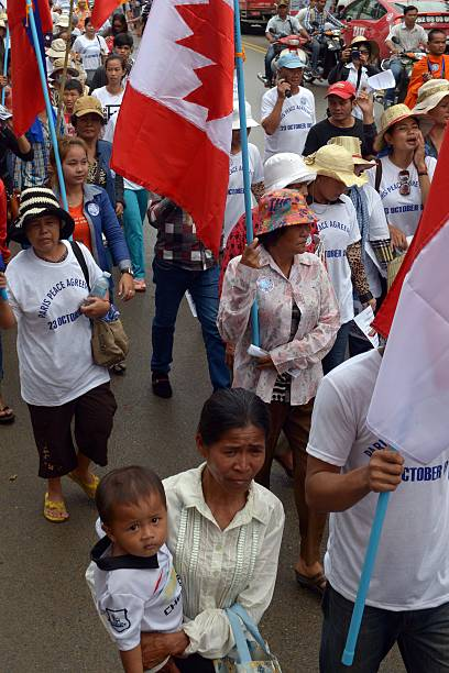 Cambodian People March As They March To Mark The 23rd Annniversary