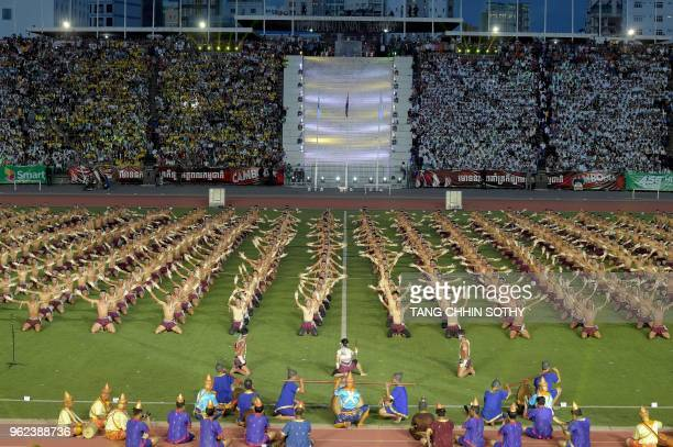 Cambodian perform during the opening ceremony of the 2nd National Games at the Olympic National Stadium in Phnom Penh on May 25, 2018.