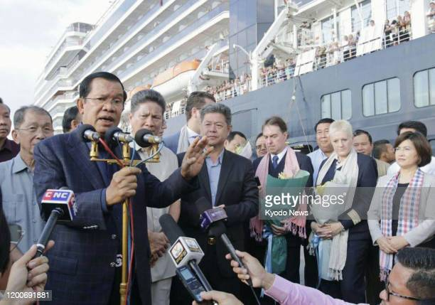 Cambodian Prime Minister Hun Sen speaks at the port of Sihanoukville on Feb 14 as passengers of the Westerdam cruise ship that was turned away from...