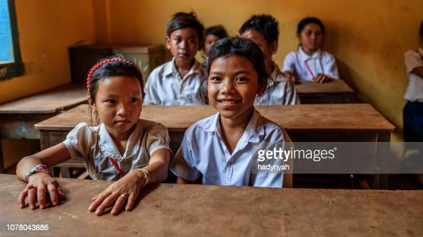 cambodian school children during class, tonle sap, cambodia - south east asia stock pictures, royalty-free photos & images