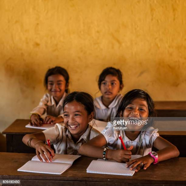 cambodian school children during class, tonle sap, cambodia - cambodia stock pictures, royalty-free photos & images