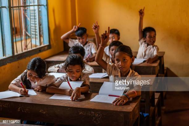 cambodian school children during class, tonle sap, cambodia - village stock pictures, royalty-free photos & images