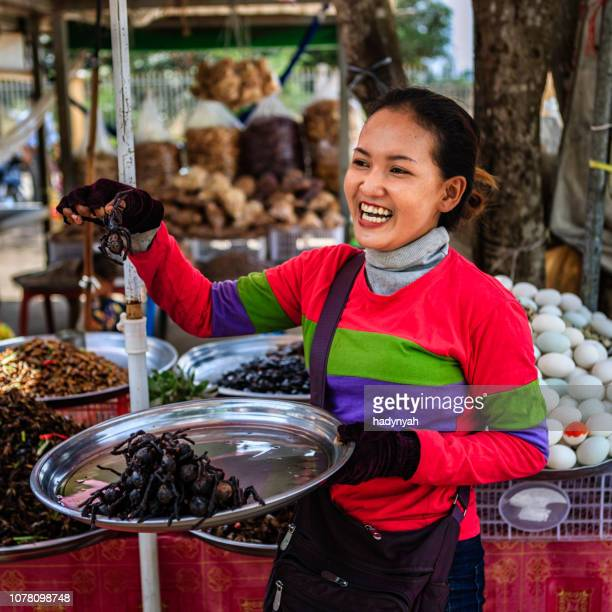 cambodian woman selling deep fried insects and tarantulas, cambodia - insetto foto e immagini stock
