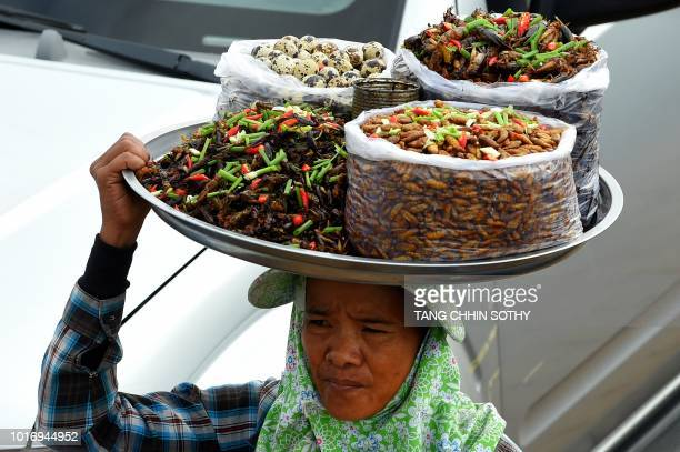 A Cambodian woman vendor carries fried crickets and other edible insects for sale on a ferry in Phnom Penh on August 15 2018