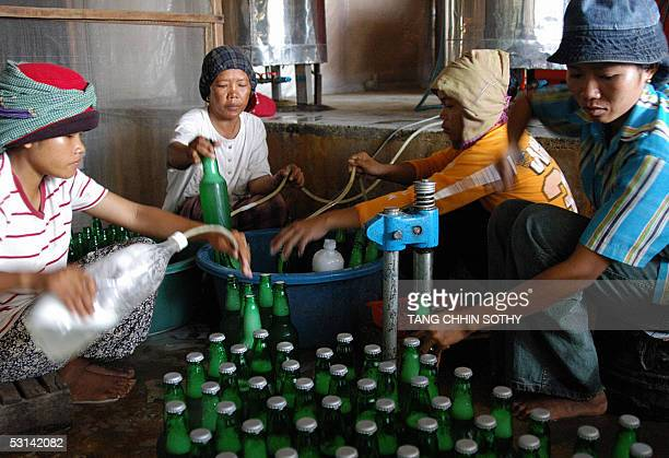 Cambodian workers drop sugar palm beer into bottles at a makeshift smallscale factory site on the outskirts of the capital city Phnom Penh 20 June...