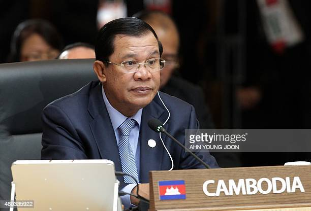 Cambodia's Prime Minister Hun Sen attends the formal session of the ASEAN-Republic of Korea Commemorative Summit in Busan on December 12, 2014....