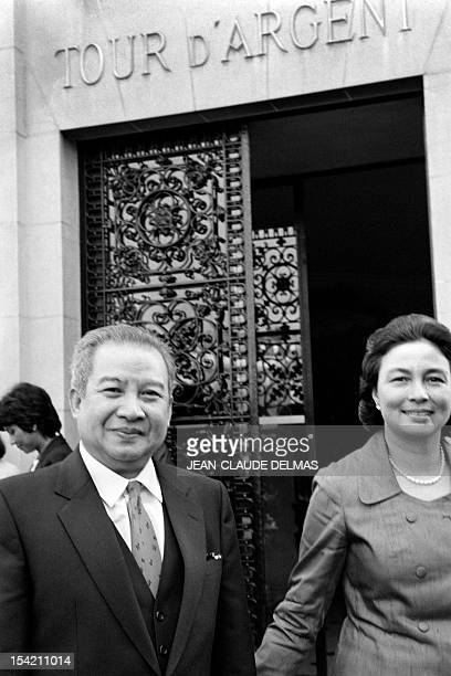 Cambodia's Prince Norodom Sihanouk and his wife PauleMonique Izzi Princess Monique Sihanouk leave the restaurant La Tour d'Argent on November 1 in...