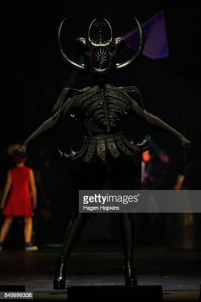'Cambrian Regeneration' by Ran Xu of China is modelled in the Weta Workshop Science Fiction Section during the World of WearableArt Preview 2017 at...