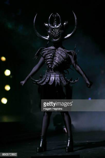 'Cambrian Regeneration' by Ran Xu of China is modelled in the Weta Workshop Science Fiction Section during the World of WearableArt Opening Night...