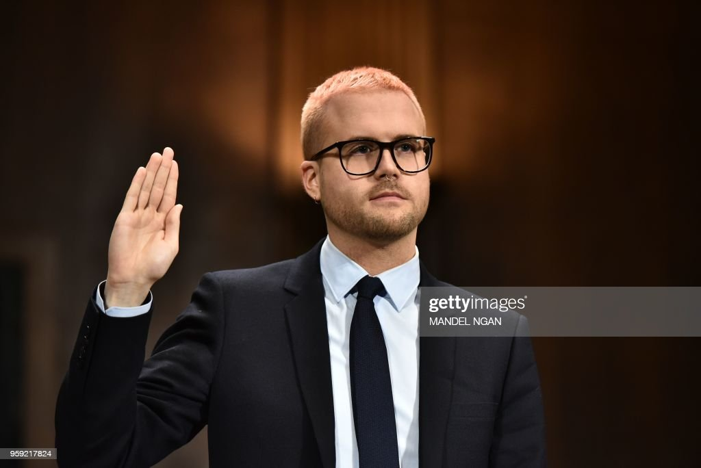 Cambridge Analytica former employee and whistleblower Christopher Wylie is sworn in before he testifies at the Senate Judiciary Committee on Cambridge Analytica and data privacy in the Dirksen Senate Office Building on Capitol Hill in Washington, DC on May 16, 2018.
