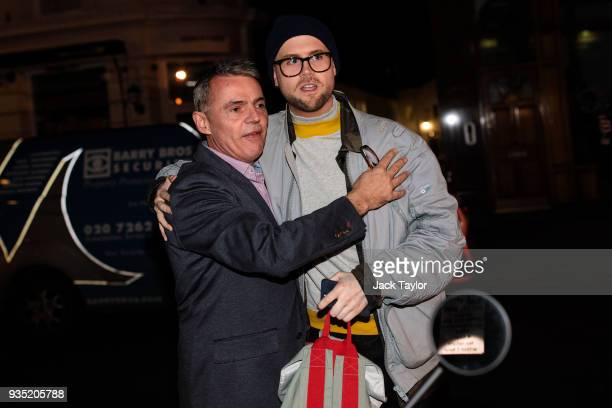 Cambridge Analytica whistleblower Christopher Wylie 28 is greeted by British author Peter Jukes as he arrives for an event at the Frontline Club on...