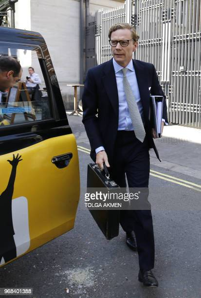 Cambridge Analytica's former CEO Alexander Nix arrives to give evidence to Parliament's Digital, Culture, Media and Sport Committee at Portcullis...