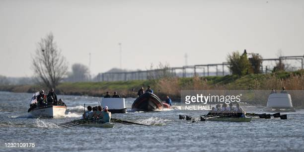 Cambridge lead Oxford towards the finish in the 166th annual men's boat race between Oxford University and Cambridge University on the River Great...