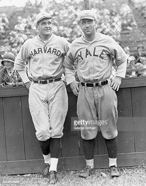 Cambridge MA Ben Ticknor of Harvard and Fay Vincent of Yale who will be rival football captains next fall meet as rivals on the baseball diamond in...