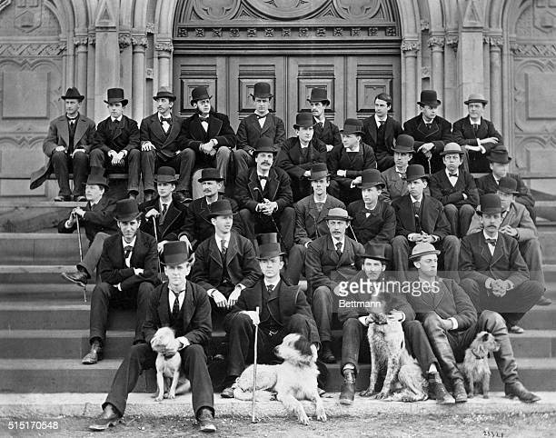 Harvard College students sitting on steps of University Chapel Photograph ca 1890