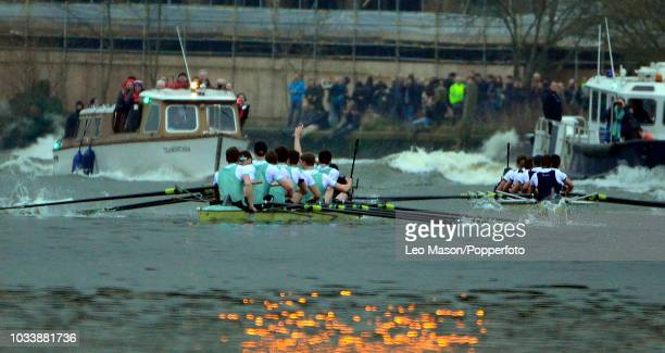 Cambridge men's crew winning at the finish during The University Women's Boat Race between Oxford v Cambridge on the River Thames between Putney to...