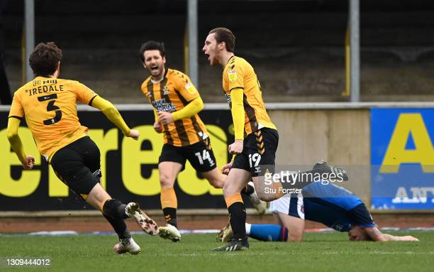 Cambridge player Adam May celebrates after scoring the winning goal during the Sky Bet League Two match between Carlisle United and Cambridge United...