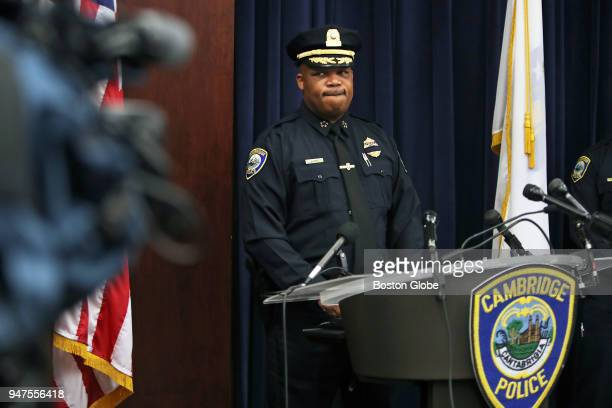 Cambridge Police Commissioner Branville G Bard Jr is pictured during a press conference at Cambridge Police Headquarters regarding an incident where...