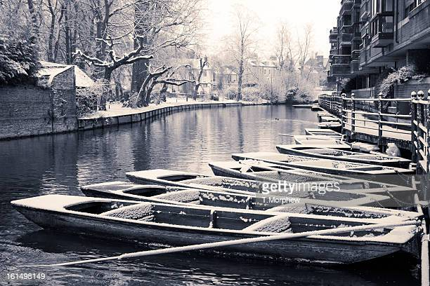 Cambridge punts in the snow.