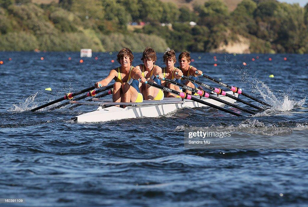 Cambridge U16 quad race during the New Zealand Junior Rowing Regatta on February 23, 2013 in Auckland, New Zealand.