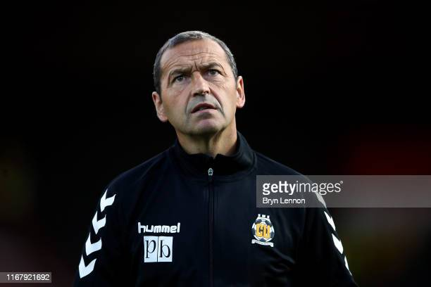Cambridge United Manager Colin Calderwood looks on ahead of the Carabao Cup First Round match between Brentford and Cambridge United at Griffin Park...