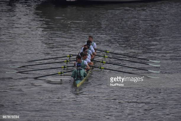 Cambridge University Boat Club blue crew are pictured at the start of The Cancer Research UK Boat Race London on March 24 2018 Cambridge were...