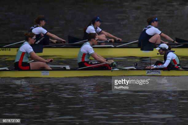 Cambridge University Men's Boat Club and Oxford University Boat Club row during The Cancer Research UK Boat Race London on March 24 2018 Cambridge...