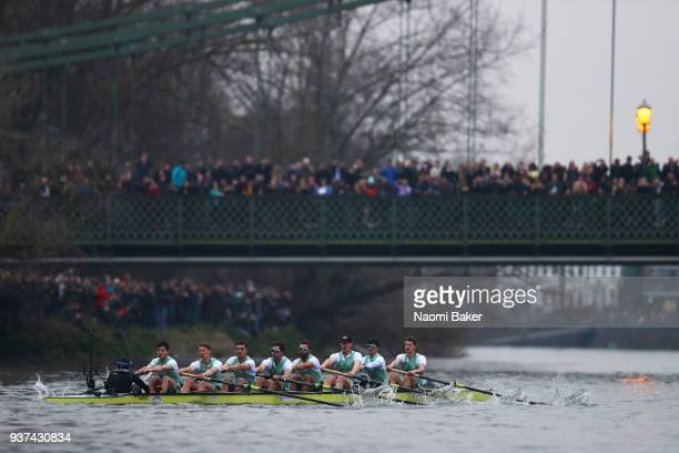 Cambridge University Men's Boat Club Blue crew approaches Hammersmith Bridge during The Cancer Research UK Men's Boat Race 2018 on March 24 2018 in...