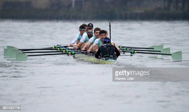 Cambridge University Men's Boat Club Blue crew compete during The Cancer Research UK Men's Boat Race 2018 on March 24 2018 in London England