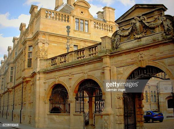 Cambridge University New Museums site facades by Pembroke street near the Old Cavendish laboratory where JJ Thomson and Chadwick discovered the...