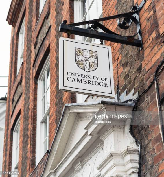 cambridge university sign above building entrance - cambridge university stock pictures, royalty-free photos & images