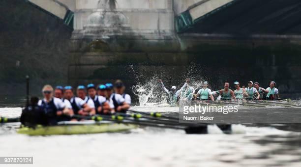 Cambridge University Women's Boat Club Blue Crew celebrate victory over Oxford during The Cancer Research UK Boat Race 2018 on March 24 2018 in...