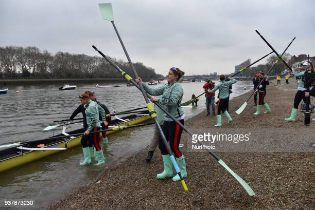Cambridge University Women's Boat Club blue crew take to the water prior The Cancer Research UK Boat Race London on March 24 2018 Cambridge were...