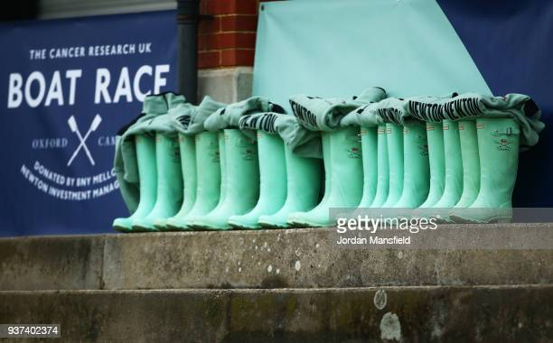 Cambridge University Women's Boat Club wellies are lined up prior to The Cancer Research UK Boat Race 2018 on March 24 2018 in London England