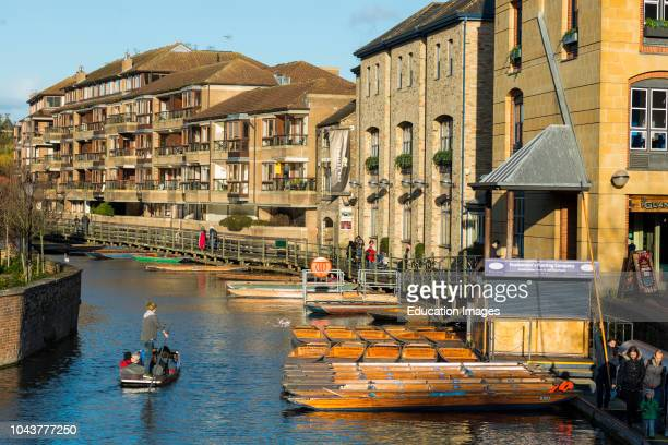 Cambridges waterfront redeveloped at the Quayside off Bridge St Cambridge city center Cambridgeshire England UK