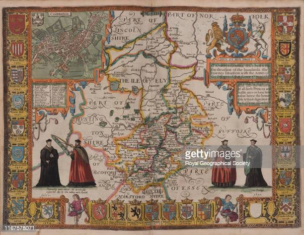 Cambridgeshire described with the division of the hundreds the towns situation with the arms of the colleges of that famous university and also the...