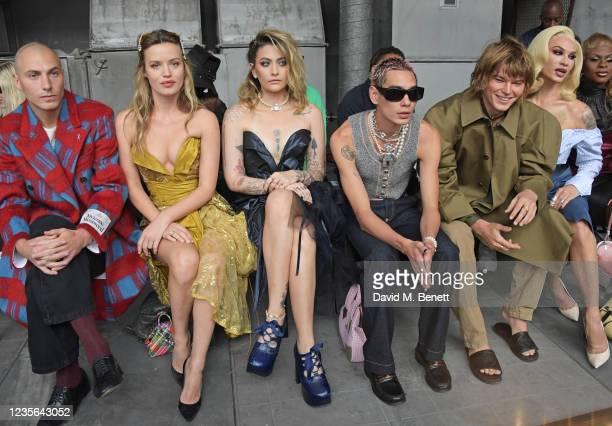 Cambryan Sedlick, Georgia May Jagger, Paris Jackson, Evan Mock, Jordan Barrett and Miss Fame attend the Vivienne Westwood show during Paris Fashion...