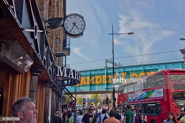 Camden Bridge and Camden Lock Market, London, UK